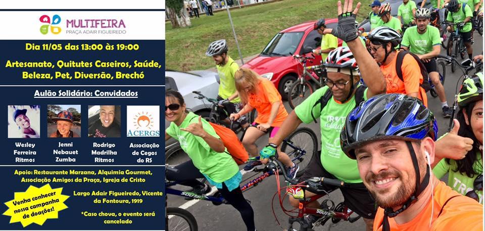 Descrição da imagem: montagem com um cartaz do evento do dia 11 e foto de ciclistas do grupo Pedal da ACERGS. Fim da descrição