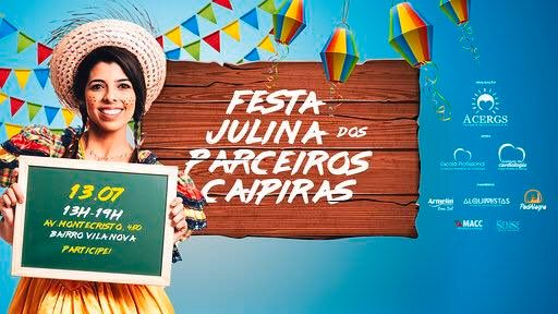 Descrição das imagens: cartaz digital da festa Julina com as informações do evento e demais logomarcas dos parceiros envolvidos. Fim da descrição.
