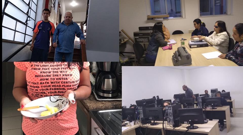 Descrição da imagem: Mosaico com 4 fotos. A 1ª, um homem idoso descendo uma escada de bengala. 2ª Uma jovem preparando algo no fogão. 3ª Mãos sobre uma folha com escritos em Braille. 4ª Laboratório de informática com várias pessoas. Fim da descrição