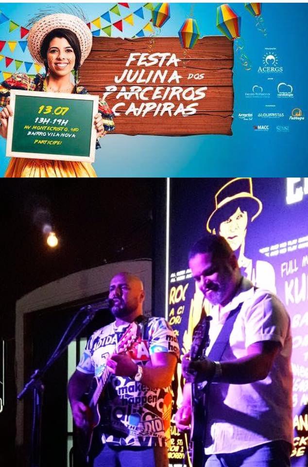 Descrição da imagem: montagem com o cartaz digital do evento e a foto da dupla de músicos logo abaixo. Fim da descrição.
