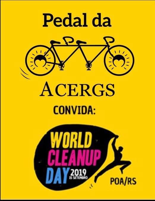 Descrição da imagem: cartaz digital com fundo amarelo, logo do pedal da ACERGS acima e logo do WCU abaixo. Fim da descrição