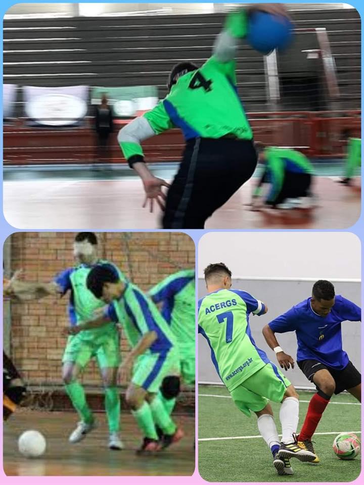 Descrição da imagem: Montagem de 3 fotos. Na parte superior, foto de um atleta de Goalbal fazendo um lançamento de ataque. Na parte inferior a esquerda, foto do jogador de Futebol 5 conduzindo a bola. E na direita jogador do Futebol B2B3 conduzindo a bola em um drible no adversário. Fim da descrição.