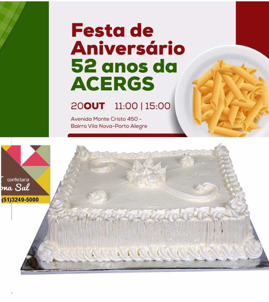 Descrição da imagem: cartão digital com as informações da festa e ao fundo cores da bandeira da Itália com prato de espaguete à direita. Logo abaixo, imagem de uma torta com a logo da confeitaria zona sul a sua esquerda. Fim da descrição.