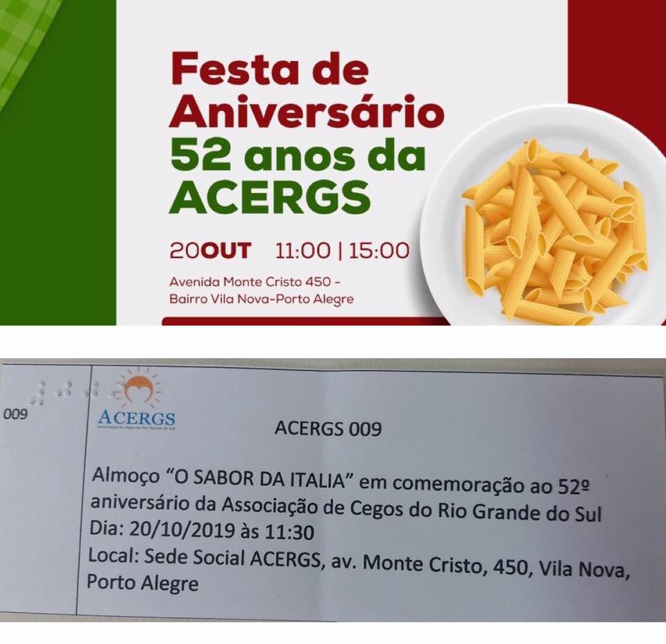 Descrição da imagem: cartaz digital com o tema da festa de 52 anos e abaixo foto ilustrativa do convite. Fim da descrição