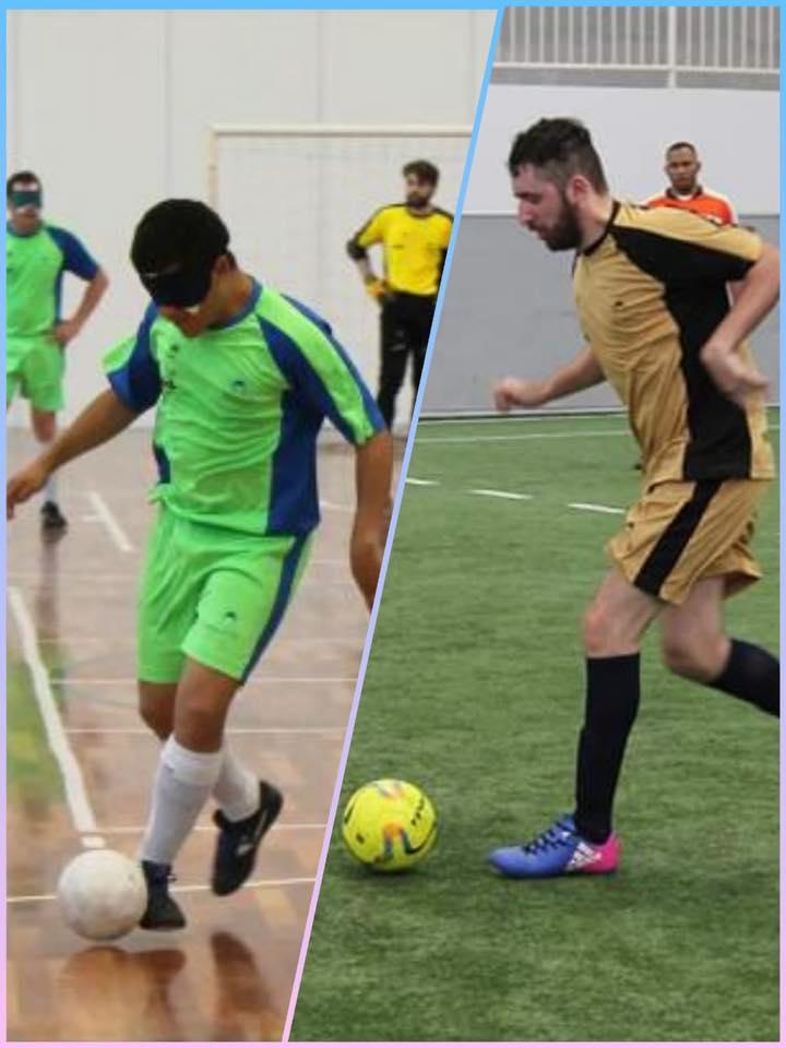 Descrição da imagem: Montagem de duas fotos. A esquerda foto de jogador do time de Futebol 5 da ACERGS, conduzindo a bola e a direita foto do jogador do time de Futebol B2B3 também conduzindo a bola. Fim da descrição.