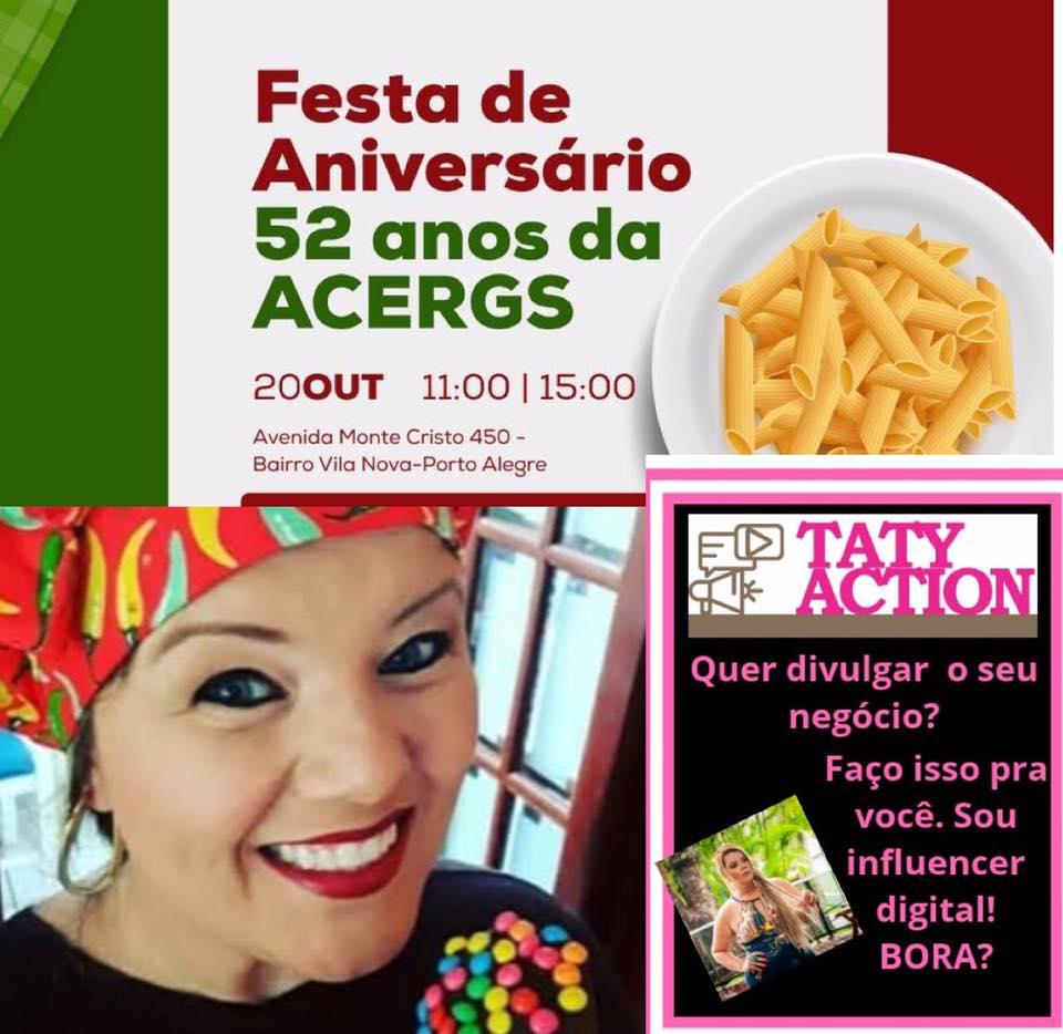 Descrição da imagem: cartão digital destaca identidade visual da festa de 52 anos com foto de Tatiana e sua logomarca. Fim da descrição.