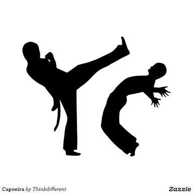 Descrição da imagem: cartão ilustrado com dois personagens jogando capoeira. Fim da descrição.